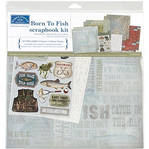 Karen Foster Design Themed Paper and Stickers Scrapbook Kit, Born to Fish