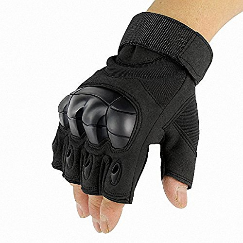 Tactical Gloves, HeeLinB Hard knuckle Half Finger Fingerless Shooting Army Police Airsoft Sports Gear (Black, Large) (Forces Lime Air Green)
