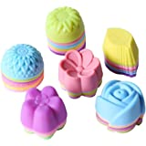 Magik 36 PCS Reusable Non-stick Silicone Mini Baking Muffin Cupcake Chocolate Cups (Assorted Flowers 2)