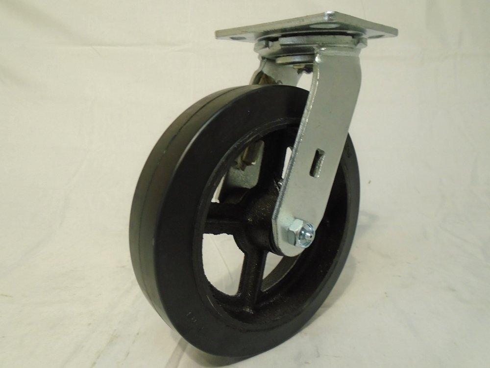 8'' X 2'' Swivel Caster with Rubber Wheel on Steel Hub 600 Lbs Tool Box