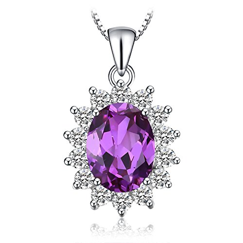 Necklace Pendant Earrings 4 - Jewelrypalace 3.2ct Gemstones Birthstone Created Alexandrite Sapphire 925 Sterling Silver Halo Pendant Necklace For Women Princess Diana William Kate Middleton Necklace Chain Box 18 Inches