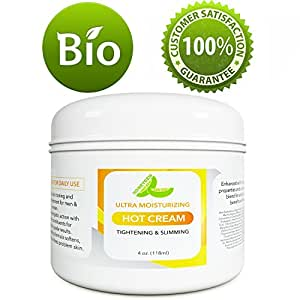 Hot Cream Cellulite Treatment – Belly Fat Burner for Women and Men – Natural Anti Aging Cream with Antioxidants and Essential Oils Rosemary Lavender Aloe – Deep Tissue Massage Muscle Relaxer