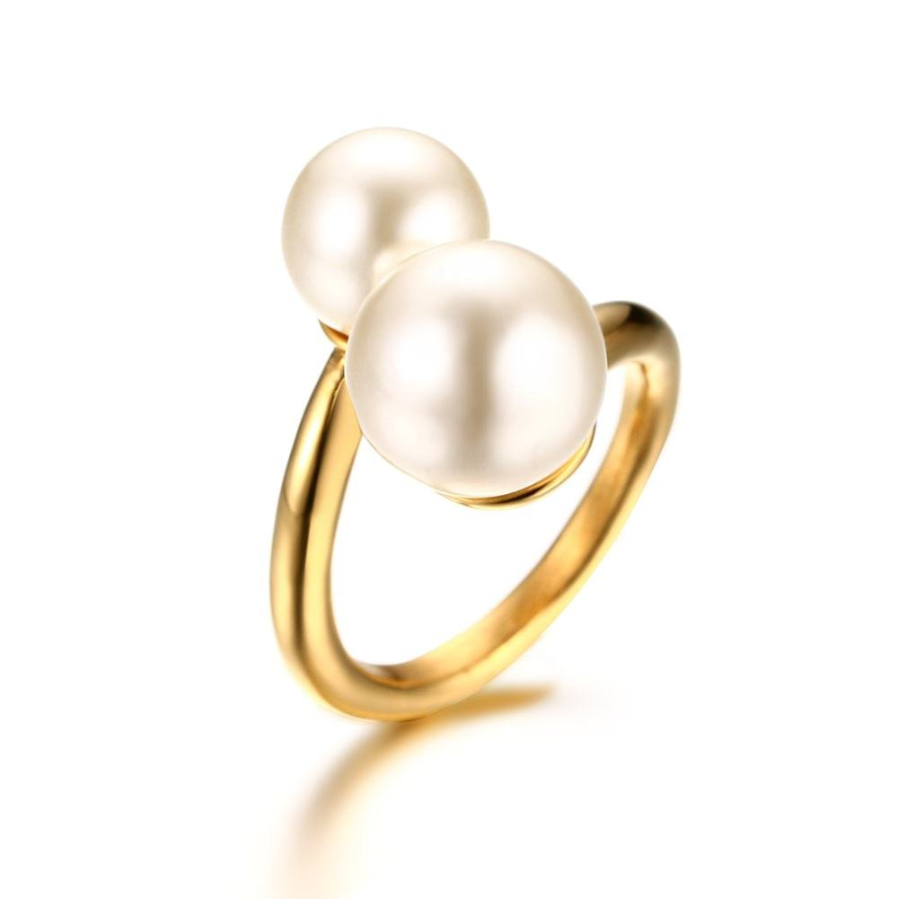 PJ Jewelry Gold Plated Stainless Steel Double Simulated Pearl Large Statement Wrap Ring for Women,size 9