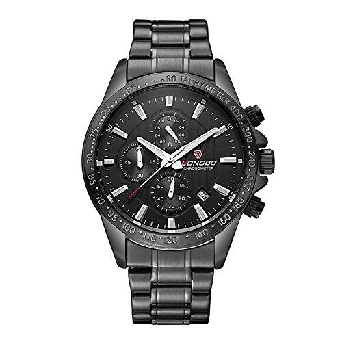 Sportivo Mens Stainless Steel Watch - LONGBO New Sportive Men Exquisite Black Dial Delicate Black Case Luminous Index Date Calendar Watches Stainless Steel Strap Waterproof WristWatch for Men