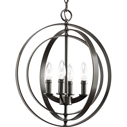 - Progress Lighting P3827-20 4-Light Sphere Foyer Lantern with Pivoting Interlocking Rings, Antique Bronze