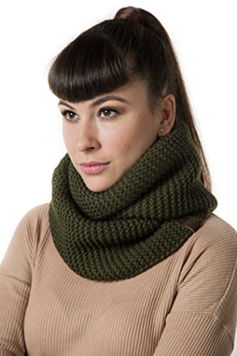 Marino's Women's Cable Knit Infinity Scarves, Fashion Winter Circle Scarf Wrap - Green (Green Chunky Scarves)