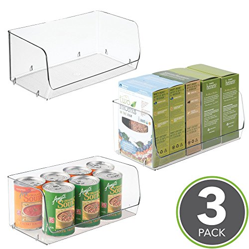 mDesign Stacking Organizer Bins for Kitchen, Pantry, Office, Bathroom – Pack of 3, Wide Medium, Clear