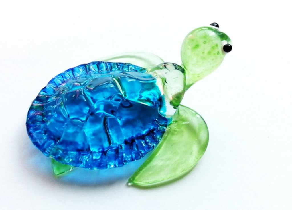 Aquarium MINIATURE HAND BLOWN Art GLASS Blue Turtle FIGURINE Collection