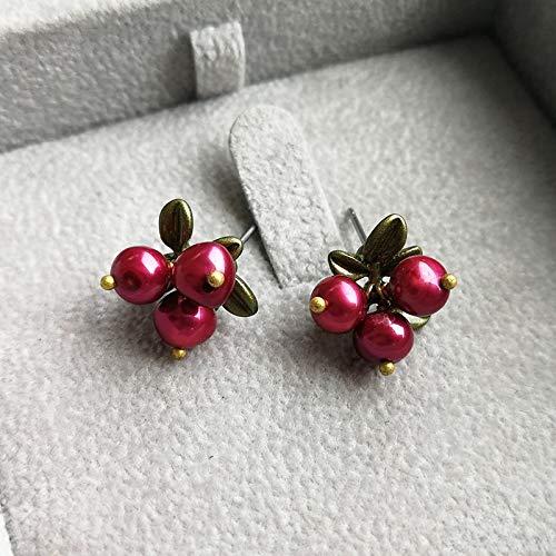 POLPEP s925 Cranberry Bronze Needles Natural Freshwater Pearl Brooch Lapel pin Badge Vintage Flower Earrings Earring Dangler Eardrop Earring Sets (925 Needles Freshwater Pearl Earrings