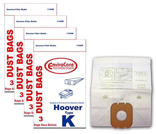 EnviroCare Replacement Vacuum Bags for Hoover Type K Canisters 12 Pack (Type K Vacuum Cleaner Bags)