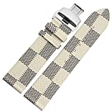 MSTRE 22mm Unisex Calfskin Leather Watch Band Replacement Strap For Burberry Watches (Beige-silver)