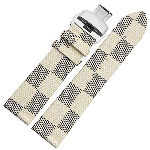 MSTRE 22mm Unisex Calfskin Leather Watch Band Replacement Strap For Burberry Watches - Burberry Replacement Strap