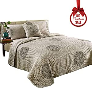mixinni King Size Quilt Set King Taupe with Shams Oversized 106'' x 96'' Classical Floral Pattern King Size Quilts and Bedspreads Cotton, Lightweight &Soft