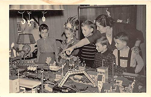 People and Children Photographed on Postcard, Old Vintage Antique Post Card Model Trains Writing on back