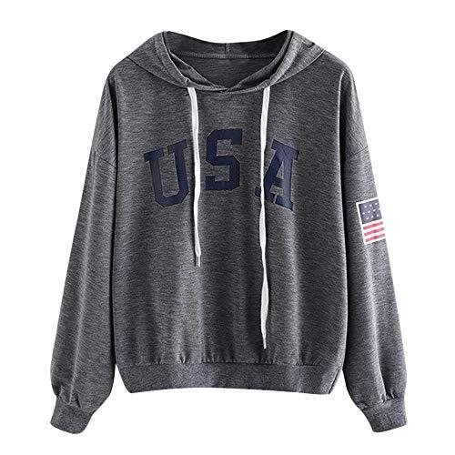 HIRIRI Women's American Flag Print Shirt Long Sleeve Drawstring Hoodies Casual Hooded Blouses Tops Dark Gray ()