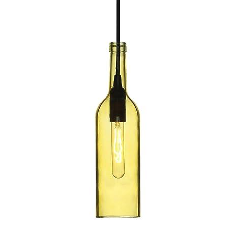 V-TAC - SKU.3773 - Lámpara con forma de botella para bombilla VT-7558, plástico (y otros materiales), casquillo E14, amarillo, altura x anchura x ...