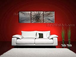 Large Hand Painted Modern Abstract Painting On Canvas Wall Art 3 Panels Textured 62\