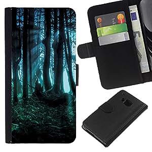 KingStore / Leather Etui en cuir / HTC One M7 / Dark Forest Fairy misteriosa naturaleza Verano