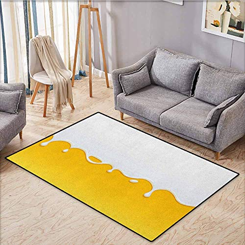 Living Room Area Rug,Yellow and White,Dripping White Milk Cream Paint Yogurt on Yellow Honey Background Print,Ideal Gift for Children,3'11