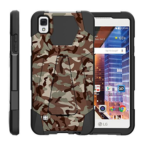 TurtleArmor | LG Tribute HD Case | LG Volt 3 Case | LG X Style Case [Dynamic Shell] Duo Protection Hybrid Case Impact Rubber Cover Hard Kickstand Cool Designs - Army Camouflage
