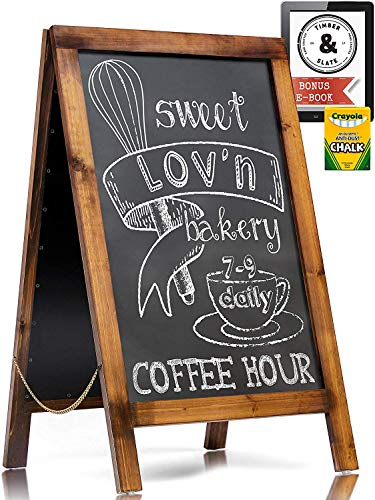 Handcrafted A Frame Chalkboard Sign - Sandwich Board Sidewalk Signs for Businesses - Rustic Pine Wood Outdoor Standing Chalk Boards for Sidewalks - Large 40