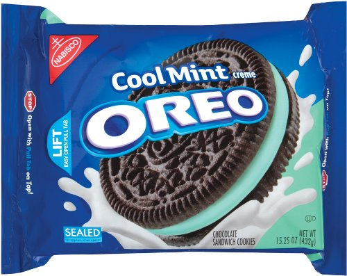 Oreo Mint Creme Oreo Cookie, 15.25-Ounce Package (Pack of 4) ()