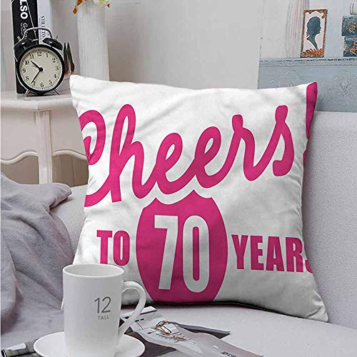 - Fbdace Throw Pillow Covers 70th Birthday Cheers to 70 Years Cushion Case for Sofa Bedroom Car 24 X 24 Inch