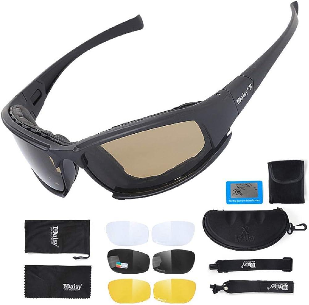 Gafas de sol deportivas polarizadas para hombres y mujeres tácticas militares – Gafas de sol polarizadas con 4 lentes intercambiables – Protección UV antivaho para correr, ciclismo, esquí, X7