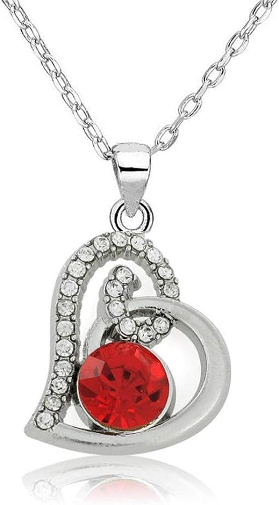 DYKJ Piedra de Cristal Rojo en el corazón Hueco Colgante Collar Plateado de Plata Novia Esposa Regalo de Mujer