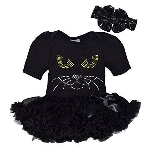 Unique Baby Girls Halloween Black Cat Bodysuit with Tutu and Matching Headband (12M)