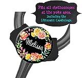Yoke Stethoscope Tag - Black Floral Wreath - Steth ID Tag