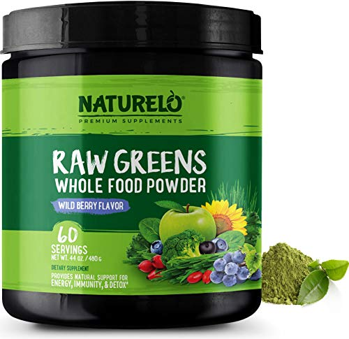 (NATURELO Raw Greens Superfood Powder - Wild Berry Flavor - Boost Energy, Detox, Enhance Health - Organic Spirulina - Wheat Grass - Whole Food Vitamins from Fruit, Vegetable Extracts - 60 Servings )
