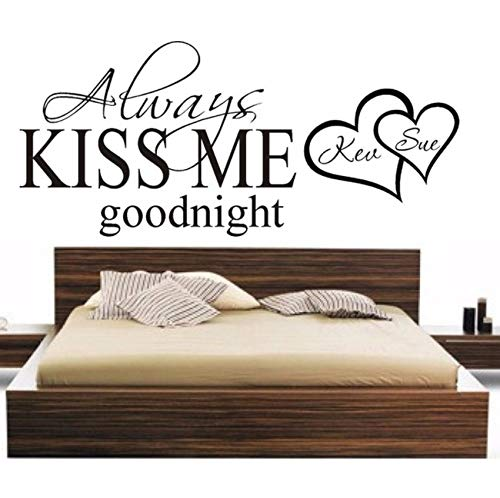 xbwy Personalized Names Always Kiss Me Goodnight Heart Wall Sticker Bedroom Vinyl Decor 90X40Cm