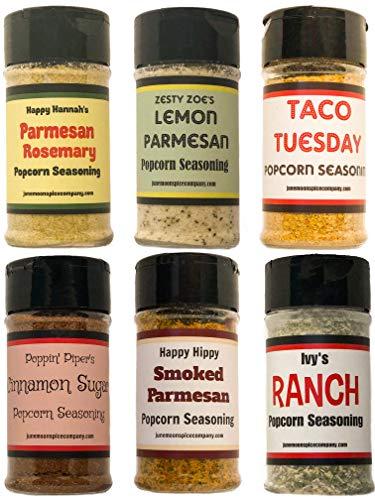 Premium POPCORN SEASONING Variety Pack | Parmesan Rosemary, Lemon Parmesan, Taco, Cinnamon Sugar, Smoked Parmesan & Ranch Popcorn Seasonings | 6 Popcorn Bags (6 count) by June Moon Spice Company (Image #8)