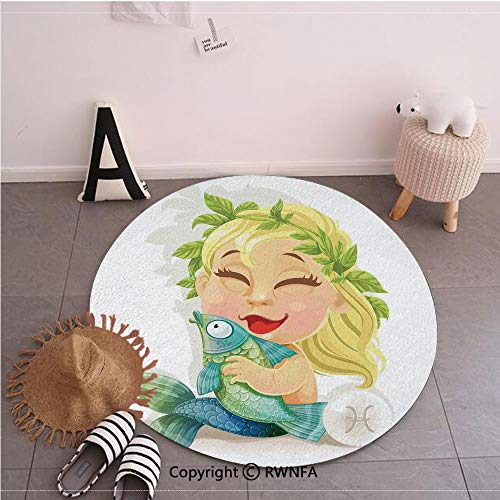 Pisces Horoscope 2008 - Commercial Grade Standing Mat,Baby Pisces Symbol Holding Fish Nemo Horoscope Collection Venus Little Mermaid Boho Multi,59.1inches,Rugs for Office Stand Up Desk,Circle 5-Feet Diameter