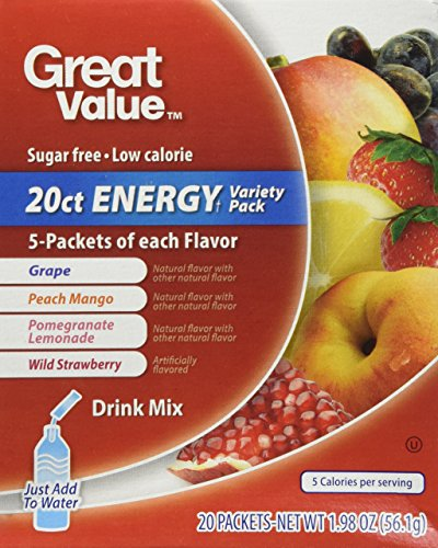 Energy Grape Flavor (Great Value Sugar Free, Low Calorie 20 ct ENERGY Variety Pack Drink Mix)