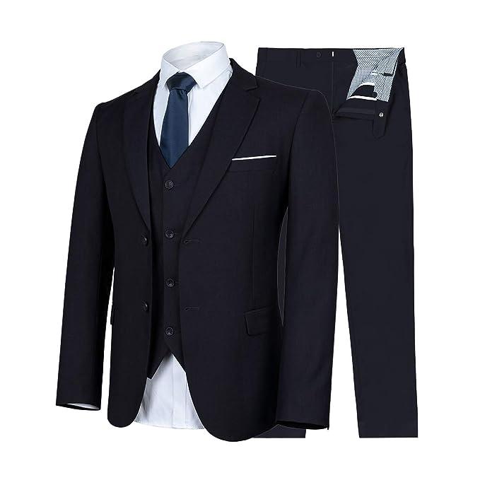 Amazon.com: WULFUL - Traje de hombre de ajuste delgado, 3 ...