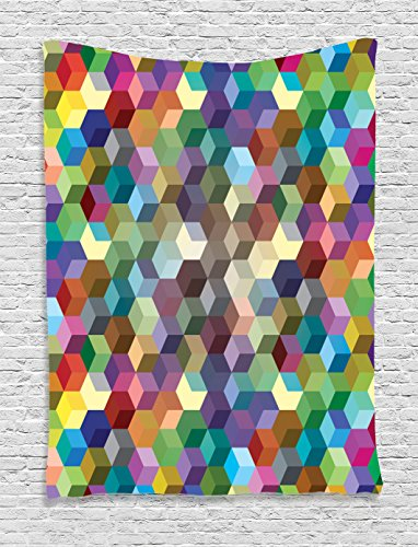 Ambesonne Abstract Home Decor Collection, Color Cubes Mosaic Party Festive Theme Modern Fun Geometric Artwork, Bedroom Living Room Dorm Wall Hanging Tapestry, Olive Blue Purple Teal