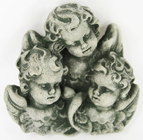 Cherubs Trio Concrete Wall Plaque Cement Religious Figure Cast Stone Catholic Sculpture Garden Art Decor