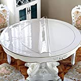New Version Clear 1.5mm Thick 54 Inches Round Table Cover, Plastic Round Table Protector, Round Table Pad, Clear Table Cover Protector