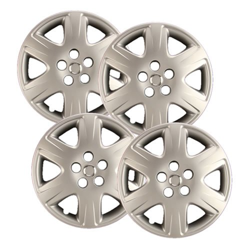 "Hubcaps.com - Premium Quality 15"" Silver Hubcaps/ Wheel Covers fits Toyota Corolla, Heavy Duty Construction (Set of 4)"