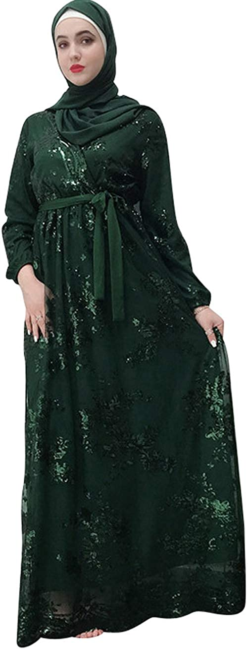 Dark Green YI Heng MEI Muslim Women's Glitter Embroidered Lace Full Length Hijab Abaya Party Gown