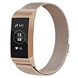 Vancle Compatible with Fitbit Charge 3 Bands, Metal Replacement Bands Wristband Bracelet Straps with Magnetic Closure Clasp for Fitbit Charge 3 Fitness Activity Tracker Women Men Small Large Size