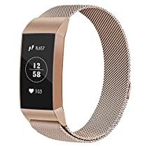 Vancle Bands Compatible with Fitbit Charge 3, Metal Replacement Bands Wristband Bracelet Straps with Magnetic Closure Clasp for Fitbit Charge 3 FitnessActivity Tracker Women Men Small Large Size (001, Rose Gold, Large)