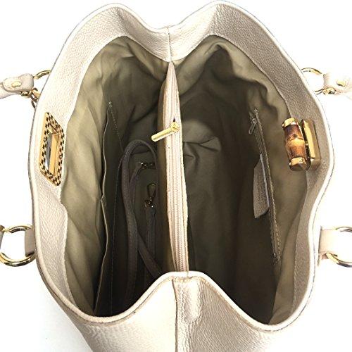 en bambou Nobam en Italie Model Taupe vrai main Fabriqué à Sac fermeture SUPERFLYBAGS en véritable cuir xfHOwf0P