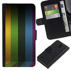 KingStore / Leather Etui en cuir / Samsung Galaxy S4 IV I9500 / Líneas de rayas púrpura del arco iris amarillo