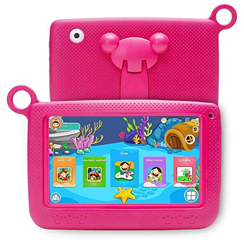 """Aobiny Children's Tablet,Newest 7""""INCH Kids Android 4.4 Tablet PC Camera Quad CORE HD WiFi, for Children (Hot Pink) by Aobiny (Image #1)"""