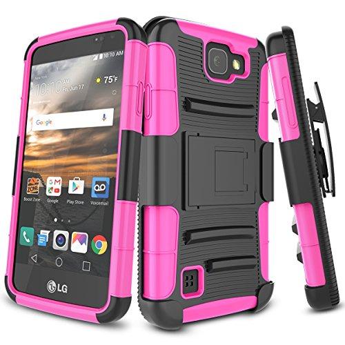 LG K3 Case, TILL [Knight Armor] Heavy Duty Rugged Holster Resilient Armor Case [Belt Swivel Clip][Kickstand] Combo Cover Shell For LG K3 Boost Mobile / Virgin Mobile LS450 [Hot Pink] for $<!--$8.39-->