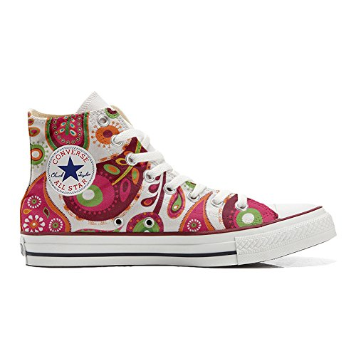 Converse All Star zapatos personalizados (Producto Handmade) White Green Paisley 2