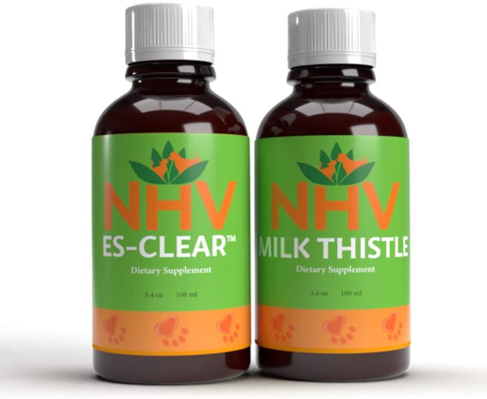 NHV Milk Thistle & ES Clear Pet Supplement Bundle for Cats & Dogs Supports Immune System & Liver for Overall Wellbeing | Organic or Ethically Crafted Ingredients | Vet Formulated | Pet Approved